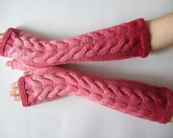 Handmade multicolor ( pink ) FINGERLESS GLOVES, wrist warmers, fingerless mittens. LONG gloves. Knitted of pure wool.