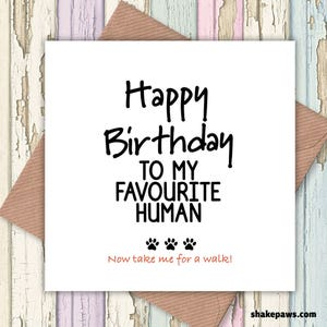 Card from dog etsy happy birthday to my favourite human card funny cards card from dog birthday bookmarktalkfo Images