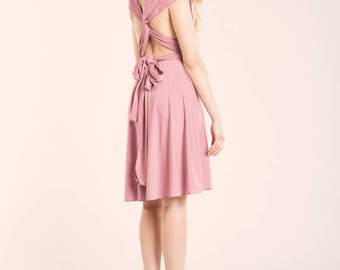 Powder pink dress, light pink short dress, powder pink short dress, light pink dress, knee length infinity dress, short dress