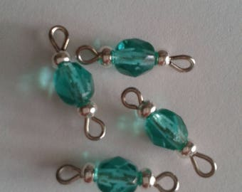 5 beads 6mm faceted dark emerald connectors