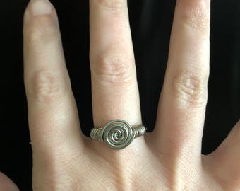 Silver & Copper wire wrapped never ending ring