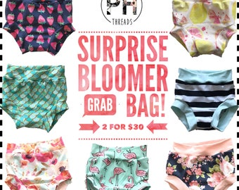 SURPRISE GRAB BAG Bloomers - Stretchy Knit Toddler Shorties - Kids Shorts - Spring Floral Bummies Summer Stripes Girls Trendy Arrows Kids