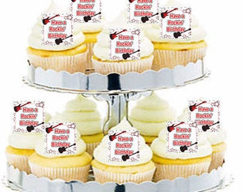 12pk Rock Guitar Music Notes Cupcake  Decoration Toppers Picks