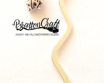 Silver Ladybug Bookmark - Mini Ladybug Bookmark - Bug Bookmark - Ladybug Lover - Book Lover