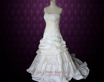 Strapless A-line Lace Wedding Dress with Dropped Waist | Romantic Wedding Dress | Heidi