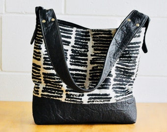 Australian Shoulder bag - Pinatex leather - Bucket Bag - black vegan shoulder bag - hand Made in Australia