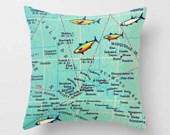 Bora Bora Pillow Cover 18x18, Bora Bora Gifts, Travel Gifts for her, Bora Bora Honeymoon, Aqua Throw Pillow, Tahiti French Polynesia Map