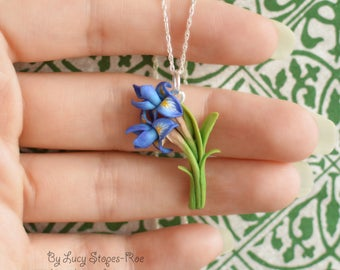 Hand Sculpted Iris Pendant and Chain