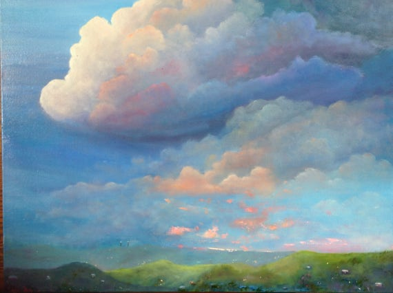 XLPainting, Huge Clouds in Skyscape, Cloudy Sky Painting, Blue Purple, Landscape Painting