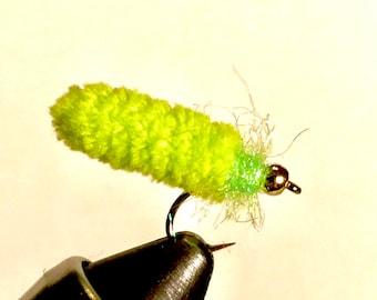 Six (6) Mop Fly Chartruese - Bead Head Mop Fly - Fly Fishing Fly - Trout Fly - Bead Head Fly