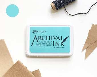 AQUA ink pad, aqua blue ink pad, Ranger ink pad, light blue ink pad, rubber stamp ink pad, acid free, non-toxic, waterproof, permanent