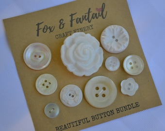 Beautiful Button Bundle  - Vintage and New White Button Collection