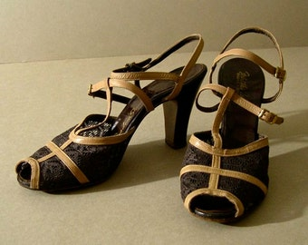 "Women's vintage shoes, 1950's, high heeled sandals, brown lace, tan ""T"" and ankle straps, open toe, size 7 medium."