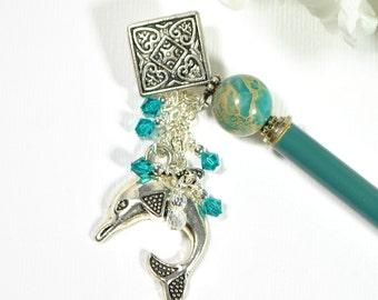 """Dolphin Hair Stick Charm Hairstick Beach Hair Pin Blue Hair Stick Charm Hair Pin Beach Hair Beads - """"Muse"""""""