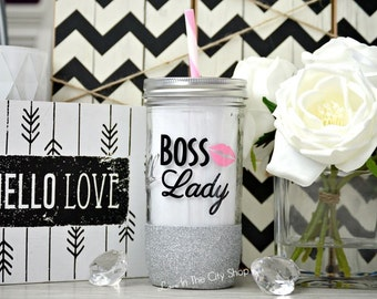 Boss Lady Tumbler, Boss Lady, Girl Boss, Boss Gift, Best Boss Ever, Girl Boss Mug, Boss Mug, Custom Glitter Mason Jar, #Girlboss, #bosslady