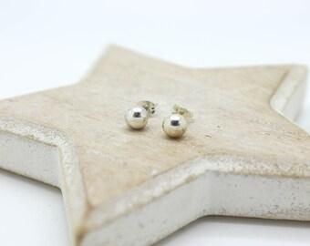 Silver pebble earrings, silver pebble stud earrings, silver stud earrings, silver ball earrings, silver droplet stud earrings, ball earrings