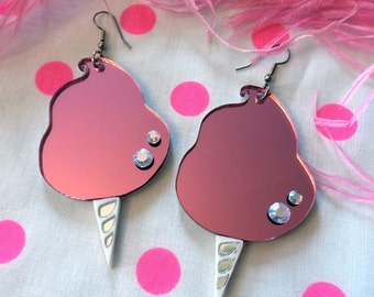 Pink Cotton Candy Earrings, Laser Cut Acrylic, Plastic Jewelry