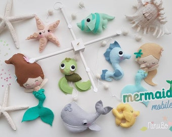 Mermaid Baby Mobile - Ocean Mobile - Sea Creatures Mobile - Fish Mobile - Whale Mobile - Felt Mobile - Nautical Mobile - Girls Mobile