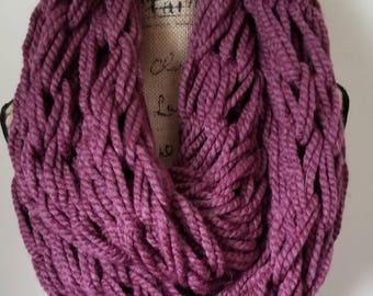 Mauve Arm knit infinity scarf