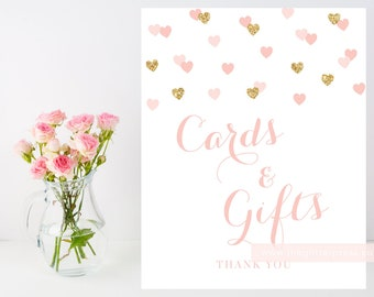 Printable Cards and Gifts sign, 8x10 blush pink gold glitter heart confetti sign, card and gifts shower sign, customizable sign, 015