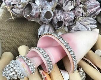 Embellished Spiral Cut Pink Conch Shell with Swarovski Crystals - Coastal Home Decor - Seashells - Beach Wedding - Bling Shell -Shell Supply