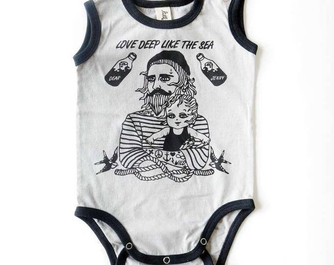 Sailor Tattoo Baby Vest - Unisex Alternative Daddy Love Pirate Anchor Swallow Baby Grow Bodysuit Short Sleeved 0-3, 3-6, 6-12 month