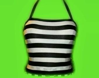 Black and white striped halter