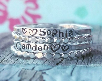 2mm Sterling Silver, Stackable Name Rings, Stackable Mother's Rings, Layered , Stacking, Two Name Rings, Name Rings Stackable, Gift for Mom