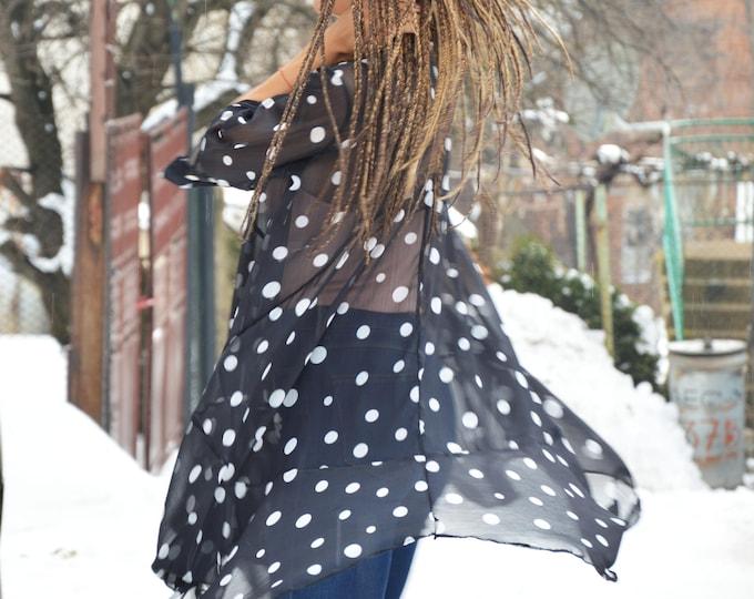 Dots Long Shirt, Loose Extravagant Drees, Women Outfit, Plus Size Shirt, Asymmetric Tunic, Oversize Polka Dot Dress by SSDfashion