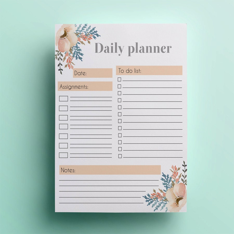 🔎zoom  Daily Planner Sheets