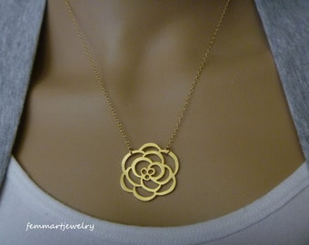 Bridesmaid Gift Necklace Rose Pendant Necklace - Bridesmaid Jewelry - Bridal Party Gifts