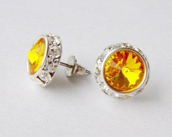 Yellow rhinestone halo stud earrings / Halo earrings / Surgical steel / Swarovski earrings / sunflower / hypoallergenic / gift for her