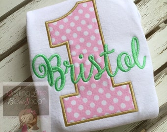 First Birthday Bodysuit in mint, gold and blush pink -- super sweet first birthday design personalized with your little one's name