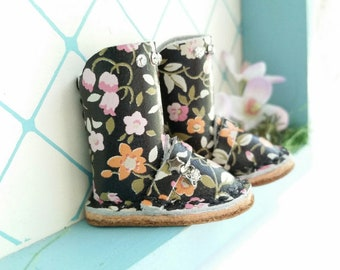 Mini Black Spring Flowers Leather Rhinestones Boots Fit Neo Blythe Doll Pullip And Azone Pure Neemo Size M S Body