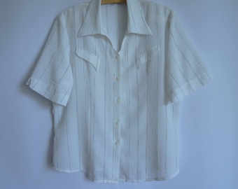 Summer Striped White Blouse / Fabric Synthetic  Blouse / Short Sleeves Blouse Button up /Lightweight Blouse/ Oversized Blouse Size Medium