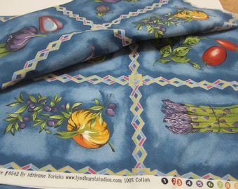 European Influence  Vegetable Square quilting Fabric 1 and 1/4 yards