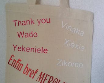 Mini tote-bag thank you teacher in 22 languages