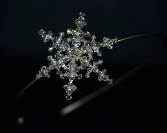 Snowflake Side Tiara for Bride / Bridesmaid made with Sparkling Swarovski Crystal AB Beads, Winter Wedding