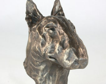 English Bull Terrier Limited Edition Bronze Bust Sculpture Ornament Figurine
