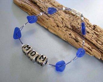 Mom Sea Glass Bracelet , Personalized Mom Bracelet - Beach Glass Bracelet ,  Cobalt Blue - Ocean Bracelet Gift of the Sea - Pure Sea Glass