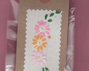 Handmade - A Bag of Embroidered Vintage Wedding Linen Gift Labels. Various Designs.