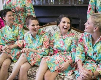 Wedding Floral Robe, Photo Op, CUSTOM Bride, Bridesmaids, Dressing Robe, Kimono,Monogram, Free Shipping