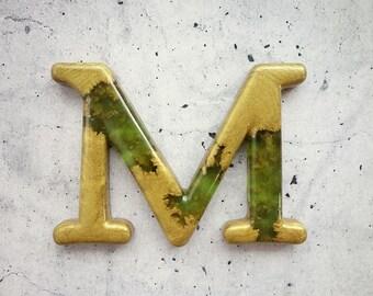 Decorative Letter M Wall Decor. Handmade Resin Letter, Gold Letter, Alphabet Letter, Wall Letter, Letter Monogram, Hanging Letter Art.