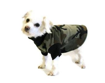 Camouflage Fleece Dog Shirt-Camo Fleece Dog Shirt-Camouflage Dog Clothes-Hunting Dog Clothes-Dog Shirts-Dog Sweaters-Dog Sweatshirts