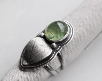 Unfurl Ring. size 7 ( green prehnite gemstone ring. antique sterling silver. oxidized leaf print. green nature jewelry )
