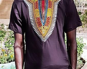 Mens African dashiki print black cotton  t-shirt