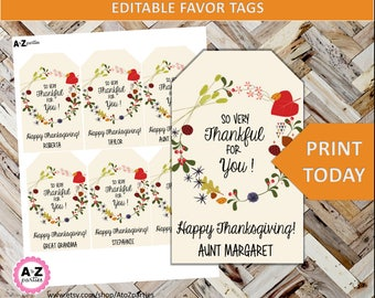 THANKSGIVING Editable Tag - Gift Tag - Table Setting - Place Card - Thankful for You - Great for Gifts or on the Table - Happy Thanksgiving