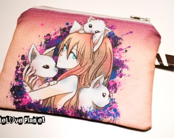 Felininity - Zippered Pouch - Coin Purse Wallet - Cosmetic bag - Bianca Loran Art