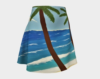 Palm Trees on the Beach - Fine Art All Over Print Flare Skirt