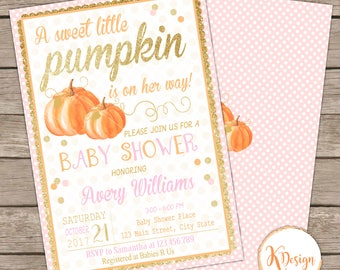Pumpkin Baby Shower Invitation , Fall Baby Shower Invitation , Printable Baby Shower Invitation